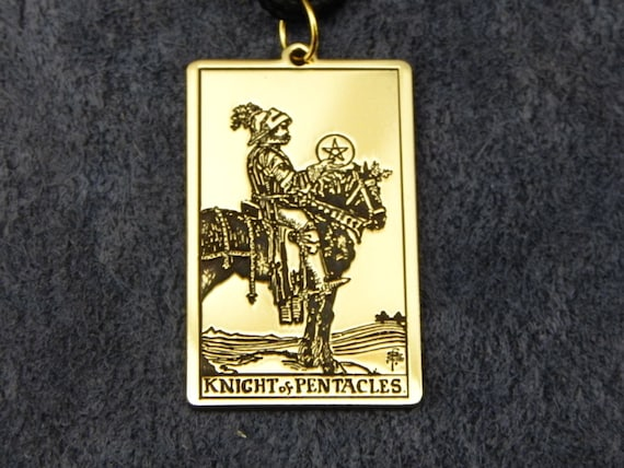Amulet - Knight of Pentacles Tarot card ( Pendant or Wallet insert card )