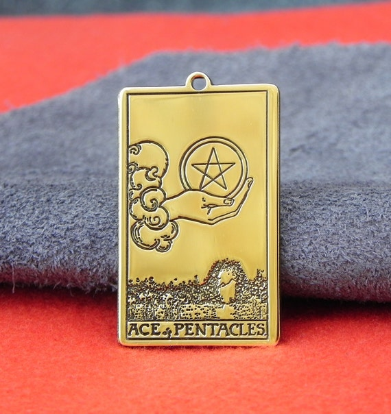 Amulet - Tarot Card Ace of Pentacles ( Pendant or Wallet insert card )