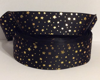 38mm//50mm and 75mm 1m  FOIL EMBOSSED STARS GROSGRAIN RIBBONS BOWS