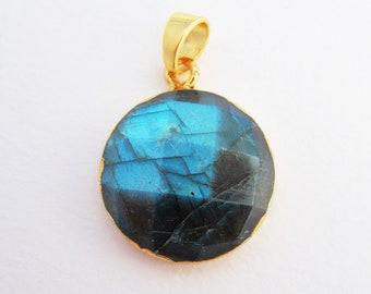 Labradorite Faceted Round Pendant - Brilliant Blue Flash - Gold Plated Pendant - Gemstone Pendant - Option to Make Into Necklace - Bohemian