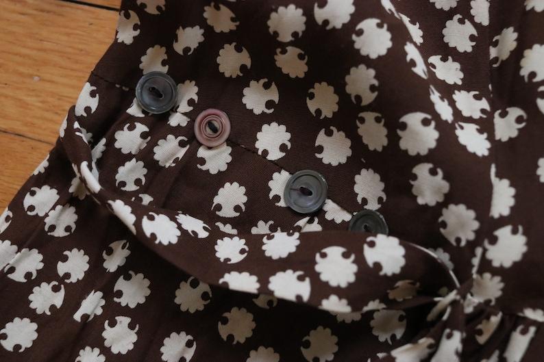 Brown Floral 1940 Vintage Day Dress
