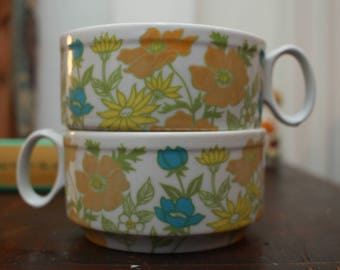 Vintage Floral Stacking Coffee Cups