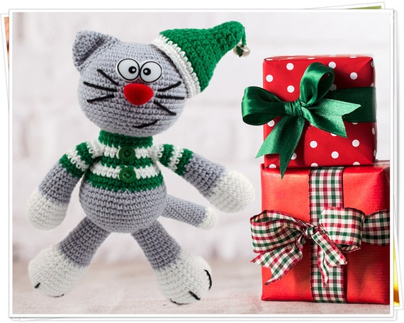 Crochet Christmas Kitty Cat Amigurumi Christmas Elf Crochet Etsy