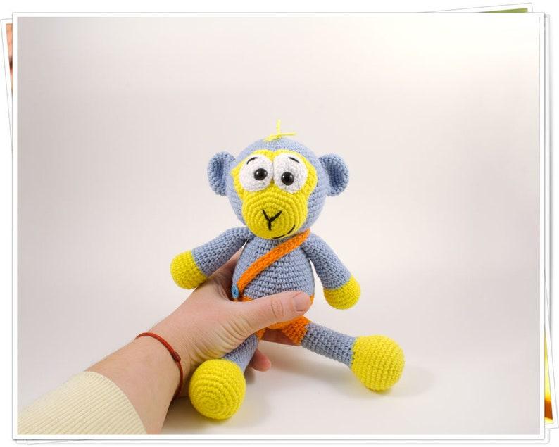 Stuffed Monkey Amigurumi Blue Monkey Crochet Jungle Animal Crochet Monkey Monkey Gift Handmade Monkey Plush Blue Monkey Soft Monkey