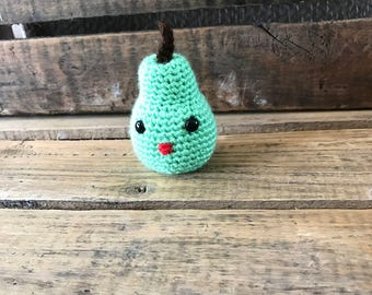 Kawaii plush pear, plushie pear decor, Kawaii pear home decor, crochet pear, decorative pear, green pear, play food fruit