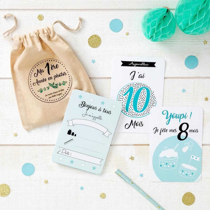 23 Cartes étapes bébé et son pochon de rangement - Créatrice ETSY : MelliConfetti