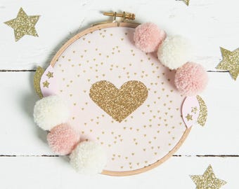 Hoop embroidery with gold and glitter heart