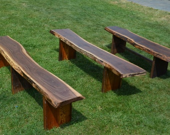 Gentil Reclaimed Wooden Benches, Outdoor Garden Benches, Live Edge