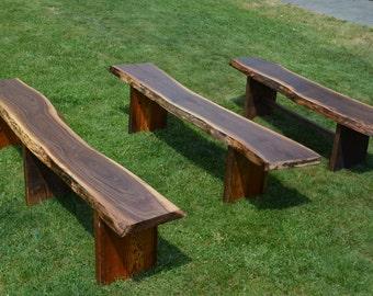 Reclaimed Wooden Benches, Outdoor Garden Benches, Live Edge