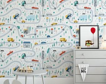 temporary wallpaper road wallpaper kids wallpaper removable wallpaper Nursery road wallpaper cars wallpaper wall mural nursery decor