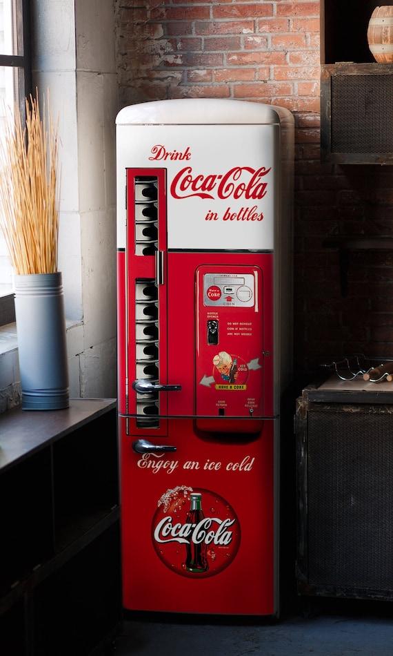 "COCA COLA MACHINE PRINTED ADHESIVE VINYL DECAL REFRIGERATOR CONVERT 30/"" X 60/"""
