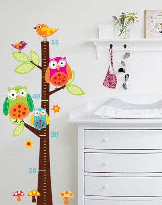 Owl Growth Chart Owl Wall Decal Owl Wall Decals Growth Etsy