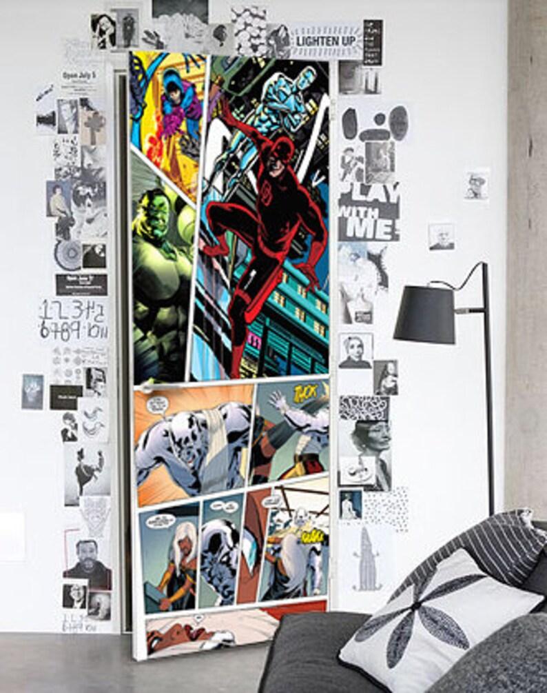 Vinyl Door Removable Wrap Marvel Door Skin Comics Door Skin Marvel Door Mural Comics Door Mural Marvel Door Wrap Door Removable Skin