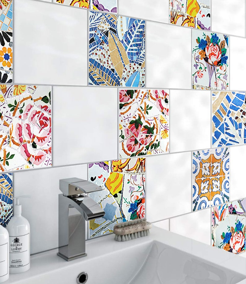 Sticker carrelage salle de bain, Stickers carrelage, sticker salle de bain,  cuisine carrelage sticker, céramique carreaux Decor, Stickers carrelage, ...