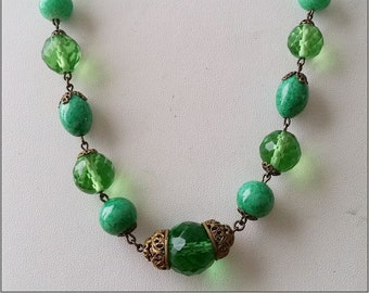 1930s  Art Deco Peking or faux jade glass bead and faceted clear bead necklace