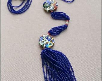 1920s Flapper's Venetian Milifiore bead necklace - very long, all original
