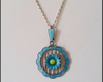 Antique Arts & Crafts 800 Silver blue enamel and silver pendant on Sterling Silver chain