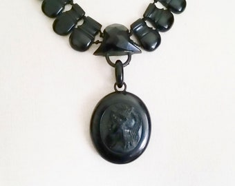 Antique Whitby jet cameo locket and collar c. 1880
