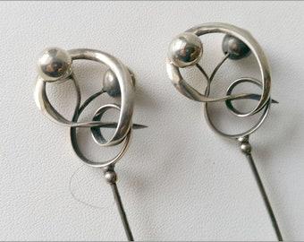 A pair of Charles Horner Sterling Silver hatpins - Hallmarked Birmingham 1898