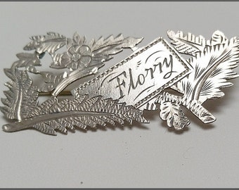 Antique Sterling Silver 'NAME'   brooch 'FLORRY'