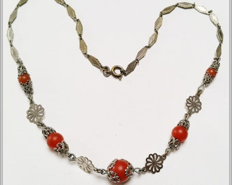 Vintage Jakob Bengel chrome and galalith necklace - very delicate