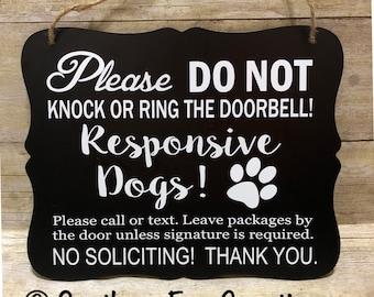 Do Not Knock/Responsive Dog Door Hanger/Sign/ Do not Disturb Sign/ No Soliciting Sign/ Do not Knock Sign