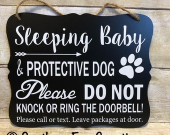 Sleeping Baby & Protective Dog Door Hanger/Sign/ Baby Gift/ Do not Disturb Sign/ No Soliciting Sign/ Do not Knock Sign