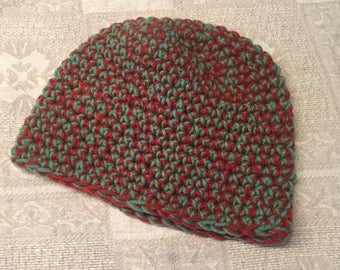 "Hand-crocheted knit hat ""toque"""