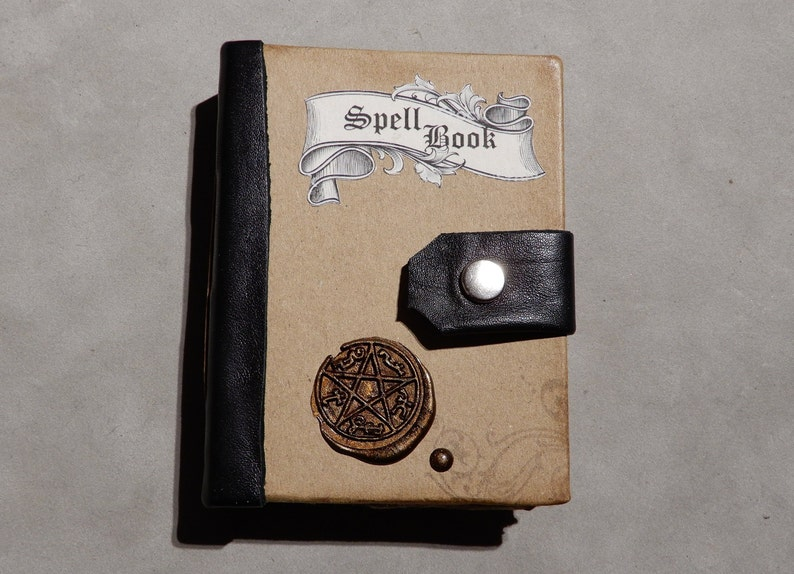 Handmade Mini Book, Spell Book, Wicca, Wiccan, Witchcraft, Voodoo, Gift,  Boy's Gift, Black Magic, Handmade Book, Bookbinding, Magic