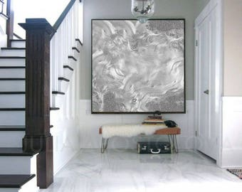 Large Canvas Art, Minimalist Painting, Silver Gray Abstract Print, Modern Art Home Decor, Large Wall Art, Julia Apostolova, ''Moon Dance''