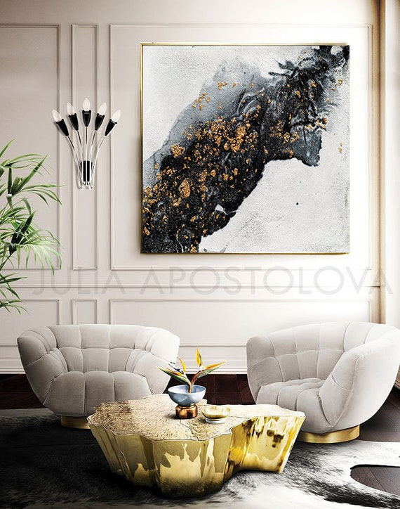 Up To 45 White Black Gold Wall Art Decor Gold Leaf Etsy