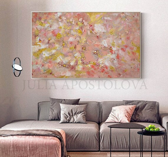 Copper Leaf Art Original Painting Coral Rose Gold Large Wall Art Elegant Gift For Her With Pastel Colors Mixed Media Abstract Painting
