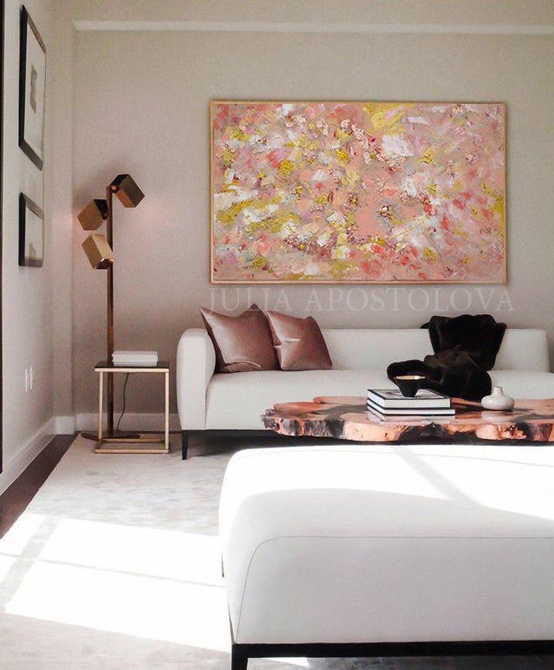 Original Painting With Copper Leaf Coral Rose Gold Elegant Gift For Her Large Wall Art With Pastel Colors Mixed Media Abstract By Julia