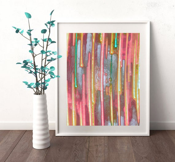 11 Pastel Paint Colors: 11x14 Print Abstract Art Rainbow Painting Pastel Colors
