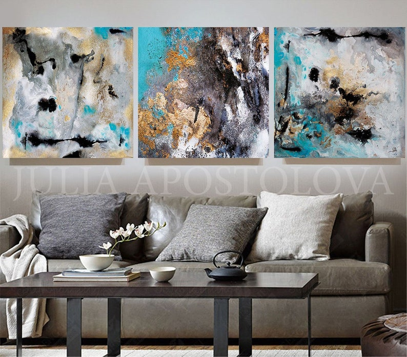 BLACK GOLD ABSTRACT QUALITY CANVAS PRINT MODERN DESIGN READY TO HANG