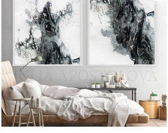 Extra Large Wall Art, Black And White Set Of 2 Prints, Large Canvas Art