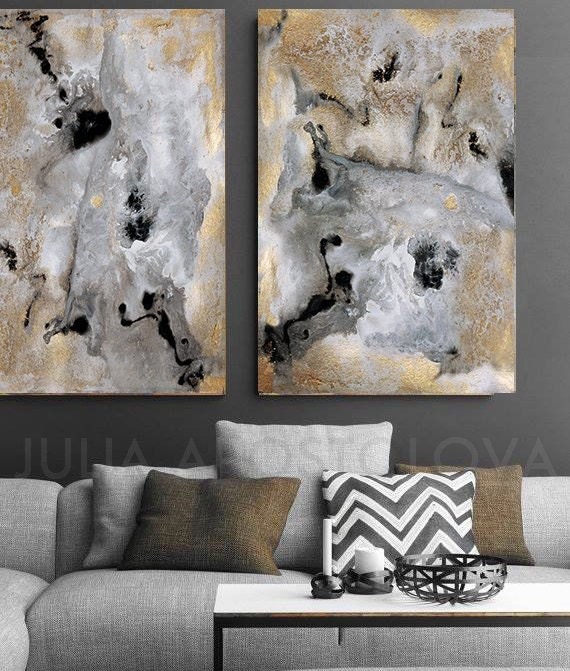 64 Inch Extra Large Wall Art Gray Gold Black Abstract Canvas Art Set Of 2 Prints Water Color Painting Gold Leaf Print Julia Apostolova