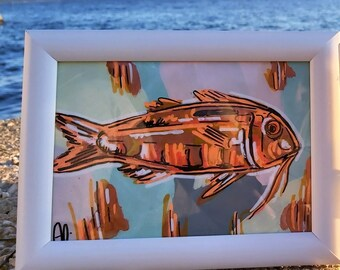 Original acrylic painting, Red Mullet Adriatic fish, Fish lover, Wall art, Modern Art, Expressionism, Copper and orange, Vibrant colors