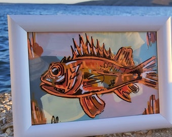 Original acrylic painting, Škarpinica, Red Grouper Adriatic fish, Fish lover, Modern Art, Expressionism, Copper and orange, Vibrant colors
