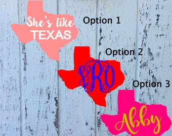 Texas Decals|Texas Name Decals|Texas Monogram|Car Decal| Yeti Decal| Monogram Decals| RTIC Cup Decals| Personalized Decals|
