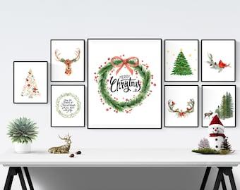 christmas wall art christmas printable set christmas prints holiday decor christmas decor 50 christmas prints set instant download - Christmas Wall Art Decor