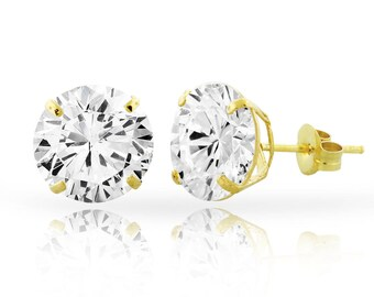 7cf568a45 14kt Solid Yellow Gold SuperBright Clear CZ Stud Earrings Basket Setting  Round