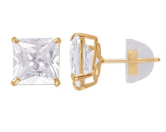 347b42860 14kt Solid Yellow Gold SuperBright Clear CZ Stud Earrings Basket Setting  Square