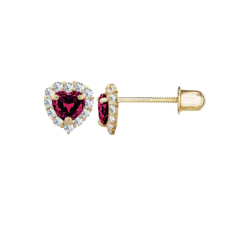 14kt Solid Gold Kids Heart Stud Screwback Earrings