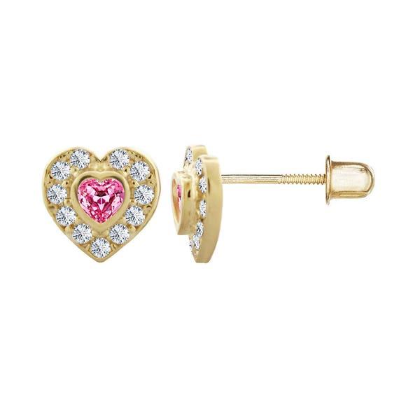 14kt Solid Gold Kids Heart Stud Screwback Earrings