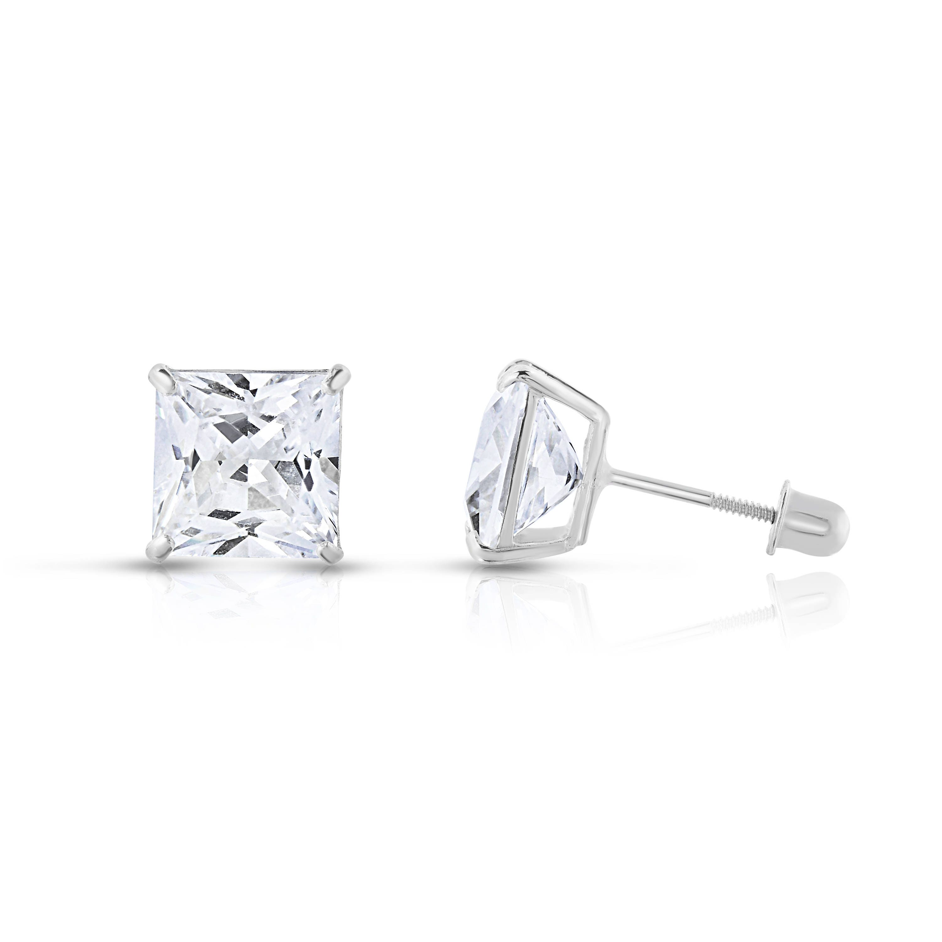 14k White Gold Cubic Zirconia 1.5Ct Round Stud Screw Back Earrings 5mm