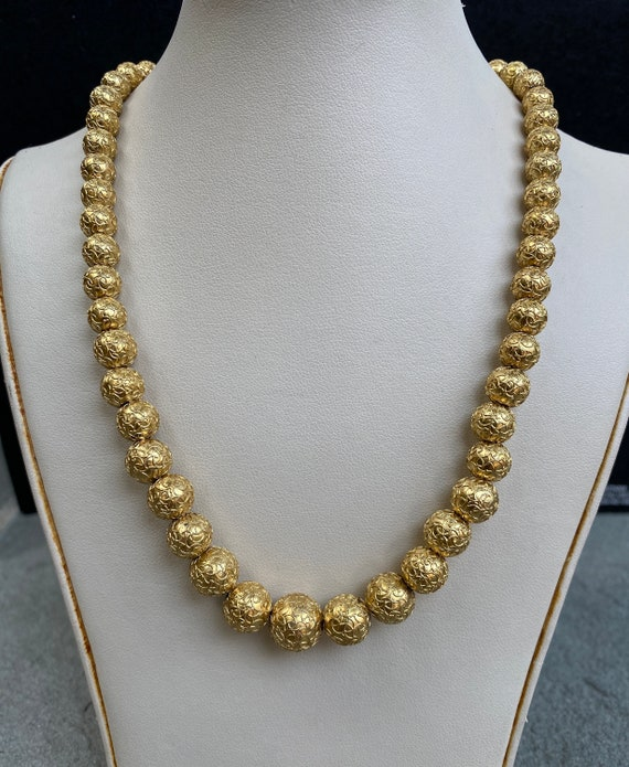 Victorian Etruscan Revival 14K Gold Bead Necklace