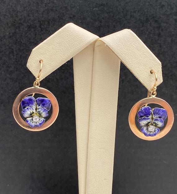 Art Nouveau 14K Gold and Diamond Enamel Violet Pan