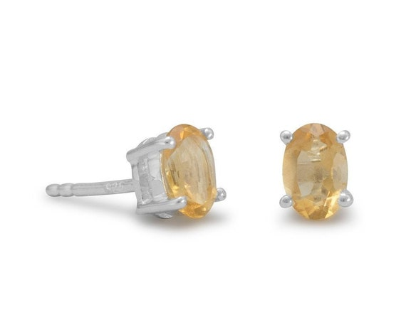 Oval Citrine Earrings