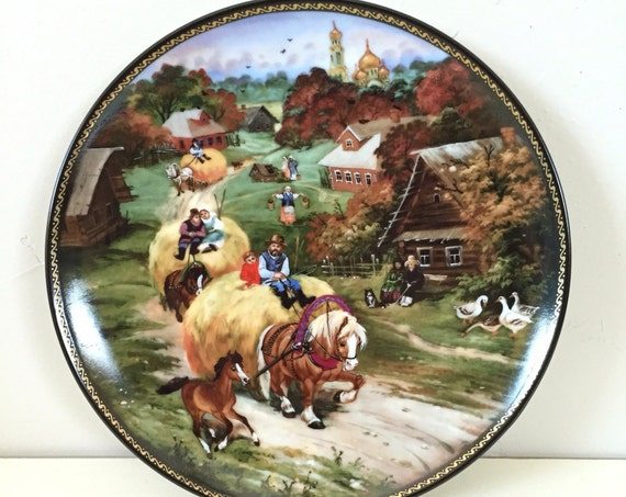 "Byliny Russian Porcelain Plate: 1990 ""Bringing Home the Harvest"" part of the ""Village Life of Russia"" series. Signed and Numbered."